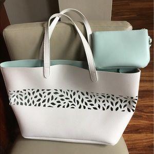 Ulta White Faux Leather Tote Bag